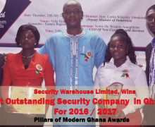 SECURITY WAREHOUSE LIMITED WINS 2016/2017 PILLARS OF MODERN GHANA AWARD FOR MOST OUTSTANDING SECURITY COMPANY IN GHANA.